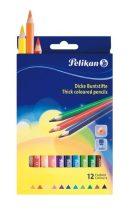 PELIKAN 12 db-os, háromszögletű, vastag színes ceruza készlet