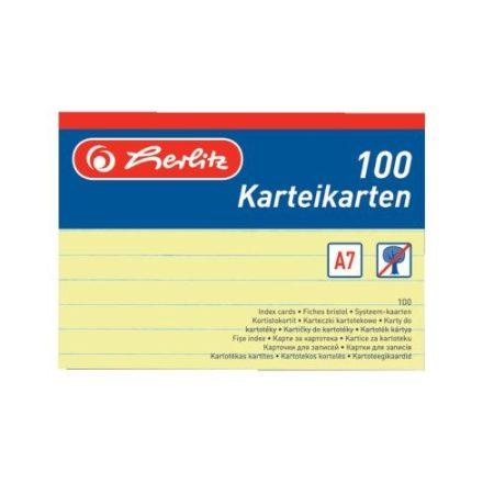 HERLITZ vonalas kartotékkártya A/7 sárga