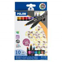MILAN Bicolor 10 db-os kétvégű filctoll készlet - 20 szín