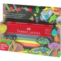 FABER-CASTELL Jumbo GRIP színesceruza készlet, neon és metál színek - fém tolltartóban
