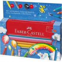 FABER-CASTELL 18 részes GRIP színes ceruza készlet ajándék fém tolltartóban