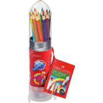 FABER-CASTELL GRIP 2001 15 db-os színes ceruza készlet + hegyezővel rakéta formájú tartóban