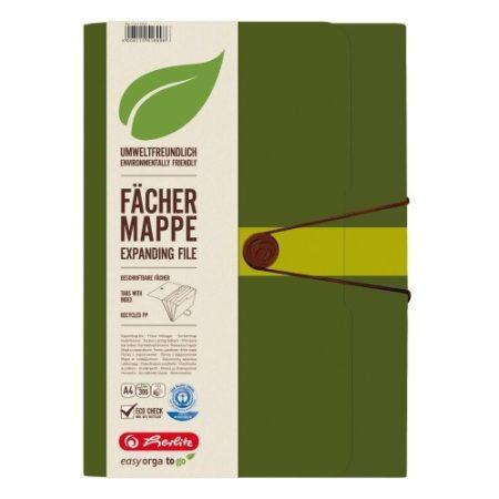 HERLITZ 12 rekeszes műanyag mappa A/4 méretű iratokhoz - zöld