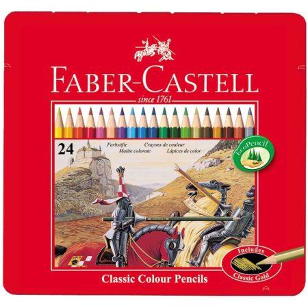 FABER-CASTELL 24 db-os színes ceruza készlet fémdobozban