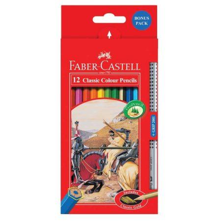 FABER-CASTELL 12 db-os színes ceruza készlet + 1 Grip grafitceruza
