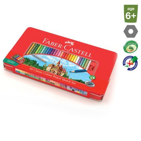FABER-CASTELL 60 db-os színes ceruza készlet + kiegészítők fém dobozban