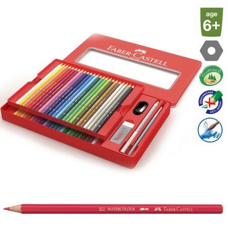 FABER-CASTELL 48 db-os színes aquarell ceruza készlet fém dobozban + kiegészítők