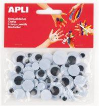 APLI Creative kör alakú, fekete-fehér mozgó szemek, 75 db