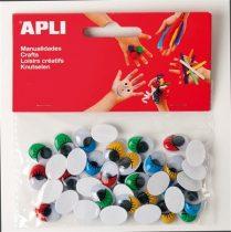 APLI Creative ovális alakú, színes, öntapadó, mozgó szemek, 40 db