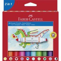 FABER-CASTELL 10 db-os bélyegzős filctoll készlet