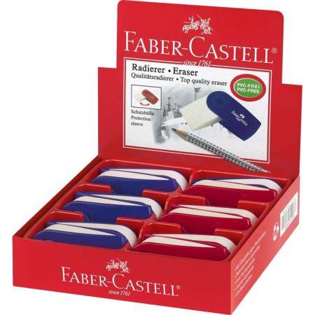 FABER-CASTELL radír - fehér, színes műanyag tartóban