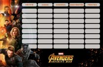 LIZZY CARD Avengers IW Infinity War Heroes órarend