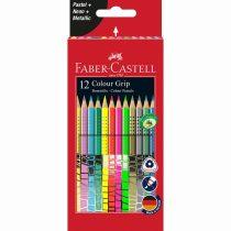 FABER-CASTELL GRIP 2001 12 db-os színesceruza készlet, pasztell, neon és metál színek