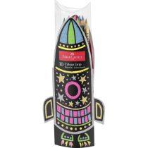 FABER-CASTELL 10 db-os GRIP 2001 színes ceruza készlet rakétás tartóban - neon és metál színek