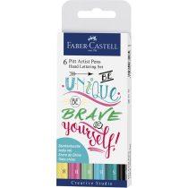 """FABER-CASTELL India Ink PITT művész filc készlet """"Hand Letter"""" 6 db-os pasztell árnyalatok"""