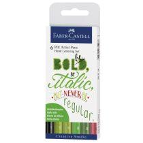 FABER-CASTELL India Ink PITT művész filc készlet 6 db-os zöld átmenetek