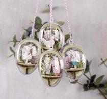 RAYHER Csendélet fából 6 cm-es tojásba, Húsvét, 20 db-os, natúr, 4 készlet