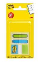 3M POST-IT jelölőcímke 3 x 16 lap, 25 x 43 mm és 12 x 43 mm, zöld és kék