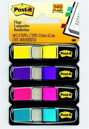 3M POST-IT műanyag jelölőcímke 4 x 35 lap, 12 x 43 mm, élénk színek