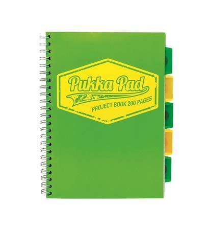 PUKKA PAD Neon Projekt Book zöld A/4-es, vonalas spirálfüzet 100 lap
