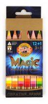 KOH-I-NOOR 3404N MAGIC 12+1 db-os háromszögletű, vastag színes varázsceruza készlet, radírral, hegyezővel