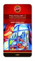 KOH-I-NOOR 3822 Polycolor 12 db-os színes ceruza készlet fémdobozban