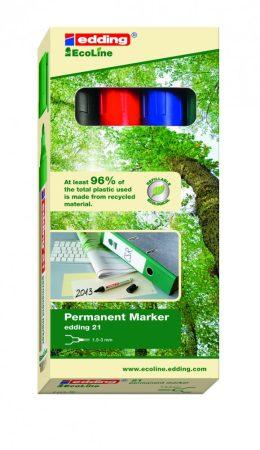 EDDING 21 Ecoline permanent marker 4 színű készlet