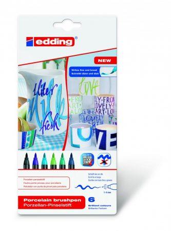EDDING 4200/6 6 db-os porcelán ecsetirón készlet - cool color