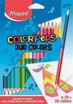 MAPED Color Peps Duo háromszögletű, kétvégű színes ceruzák 18 db 36 szín