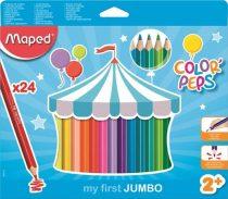 MAPED Jumbo 24 db-os háromszögletű, vastag színesceruza készlet