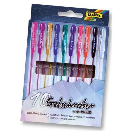 FOLIA 10 db-os zselés toll készlet metál színek