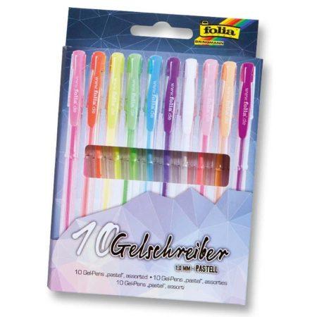 FOLIA 10 db-os zselés toll készlet pasztell színek