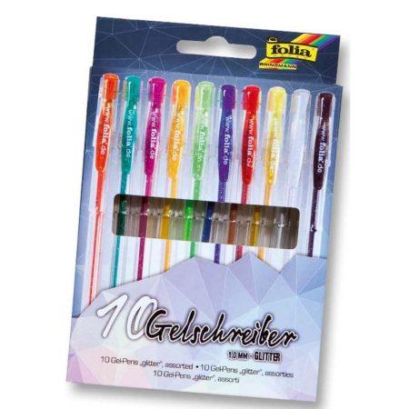 FOLIA 10 db-os zselés toll készlet csillámos/glitteres színek