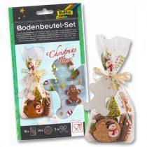 FOLIA Christmas time karácsonyi mintás (mézi, candy cane) celofán tasak 10 db-os szett, kiegészítőkkel