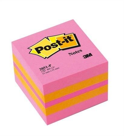 3M POST-IT papír öntapadó jegyzettömb 400 lap, 51x51 mm, pink