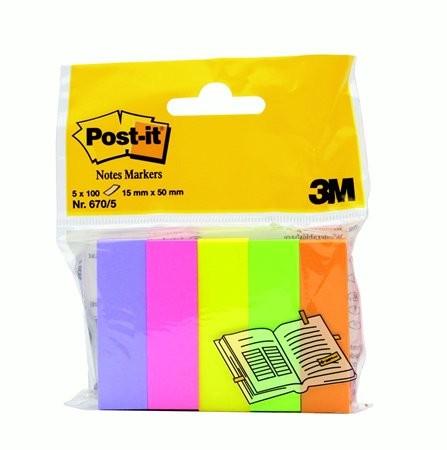 3M POST-IT papír jelölőcímke 5x100 lap, 15x50 mm