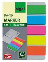 SIGEL Clip műanyag jelölőcímke, 5x25 lap, 12x50mm