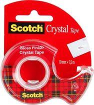 """3M SCOTCH """"Crystal"""" ragasztószalag, kézi adagolóval 19 mm x 7,5 m"""